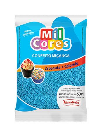 Confeito Miçanga Mil Cores Mavalério Azul 500g