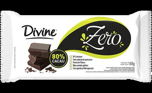 Chocolate 80% Cacau Divine zero açúcar, zero lactose e zero glúten 100g