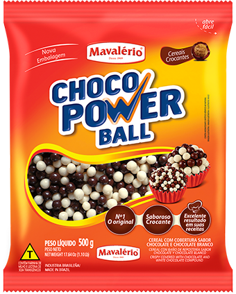 Choco Power Ball Micro Mavalério Sabor Chocolate Preto e Branco 500g