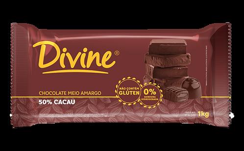 Chocolate Divine Meio Amargo 50% Cacau em barra 1kg