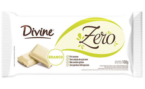 Chocolate Branco Divine zero açúcar, zero lactose e zero glúten 100g