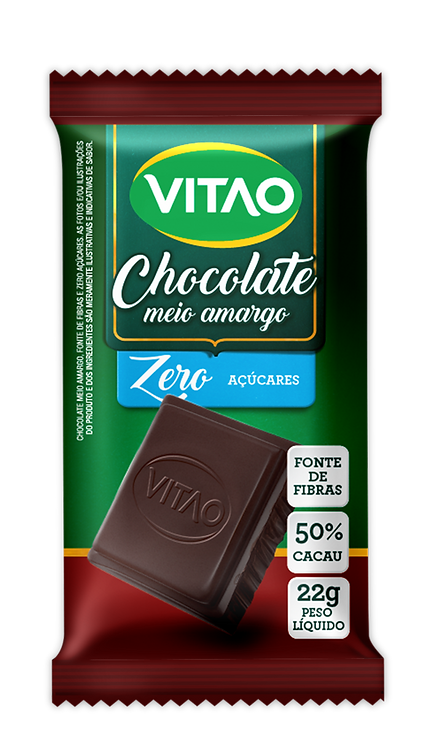 Chocolate Meio Amargo Zero Açúcar Vitao 22g