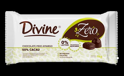 Chocolate Zero Meio Amargo Divine 50% Cacau zero açúcar e zero lactose 1kg