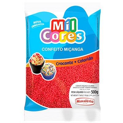 Confeito Miçanga Mil Cores Mavalério Vermelho 500g