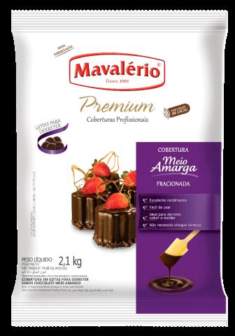 Cobertura Fracionada em Gotas Mavalério Premiun Meio Amargo 2,1kg