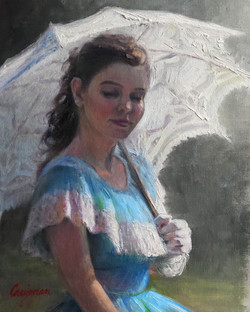 (SOLD) Blue Belle with White Parasol