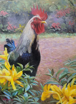 Rooster Among the Golden Trumpets
