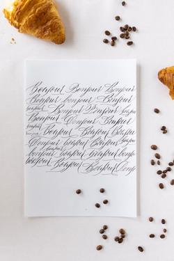 Bonjour - Yoligraphie - Moderne Kalligraphie
