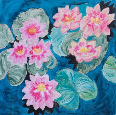 Patruunan rouvan vaaleanpunaiset lumpeet