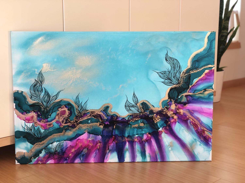 "Thumbnail: ""Teal and Fuschia Sky"" Painting"