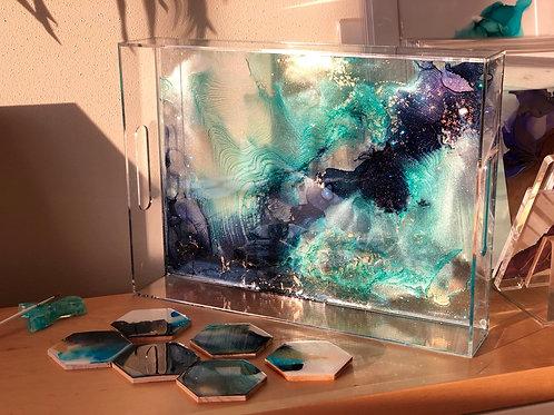 """Dark Nebula""-acrylic resin tray"