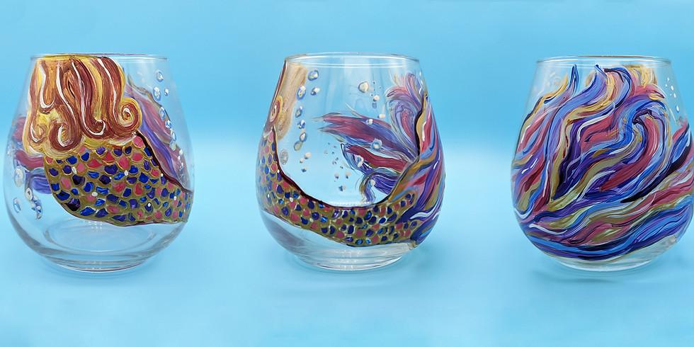 Mermaid Wine Glass Painting
