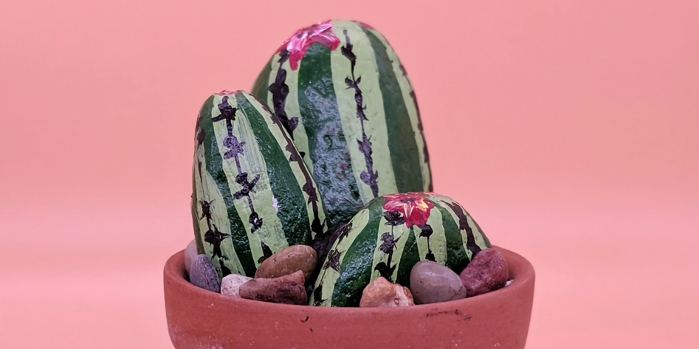 Potted Cactus Rock Painting Class