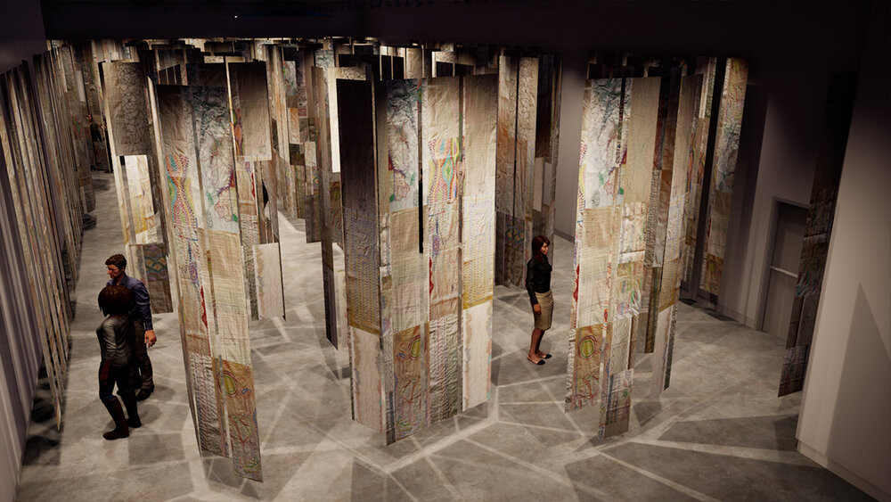 Embroidered fabric panels are sewn together and hanging from the ceiling allowing people a pathway to view them