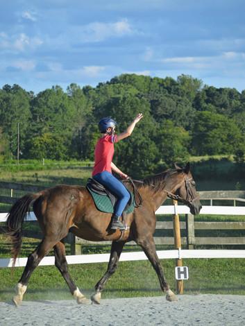 Gryffindor and Jane practicing balance