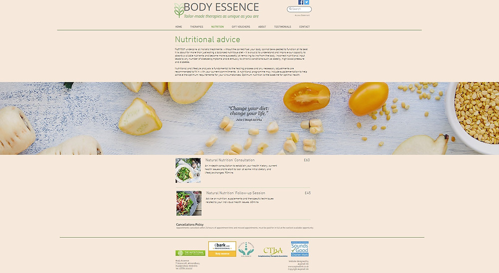 Nutritional Advice - a new direction for Body Essence