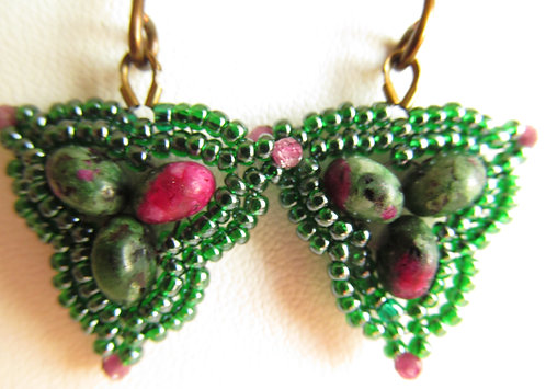 Handmade earrings of glass and ruby zoisite on vintage bronze