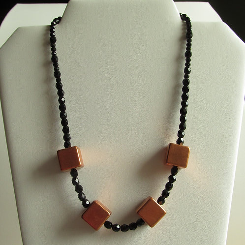 Handmade black beaded Necklace with copper cubes