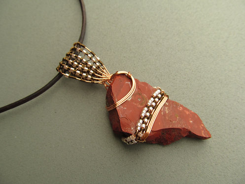 Handmade Necklace of raw red jasper stone on leather cord