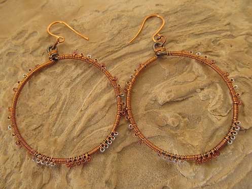 Handmade wrapped jewel tone glass on copper hoop earrings