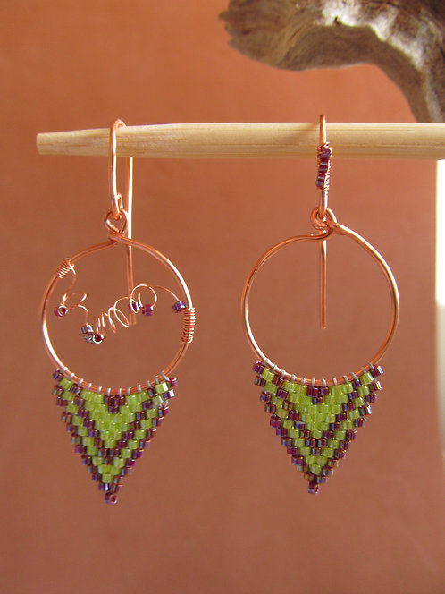 Handmade beaded lime and purple glass on bronze triangle hoop earrings