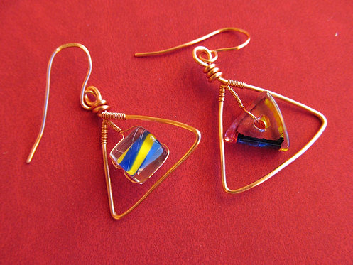 Handmade copper wired fired glass on copper triangle earrings