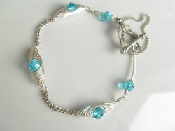silver wrapped aqua glass beads