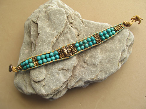 Handmade leather wrapped cuff bracelet turquoise howlite