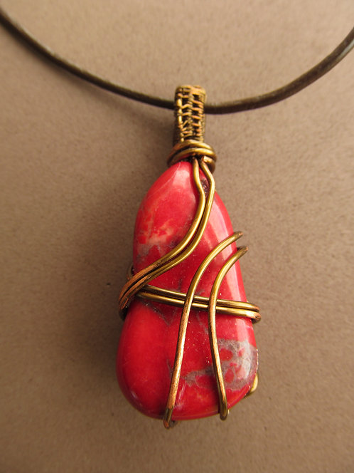 Handmade Necklace of red jasper stone on dark brown leather cord