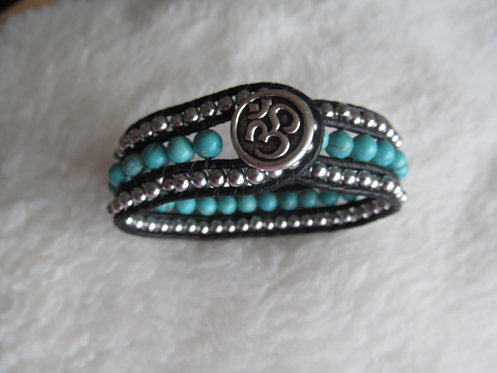 Handmade leather wrapped cuff bracelet turquoise and silver