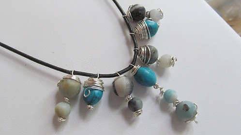 Handmade Necklace of amazonite and turquoise on charcoal leather cord