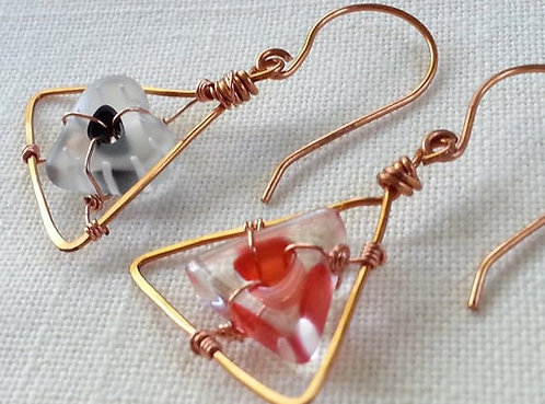 Handmade earrings drops of fired glass heart and triangle on copper ear wires
