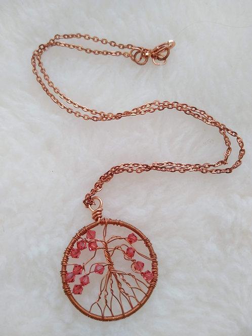 "copper 1.5"" pendant with orange beads on 19"" copper chain"