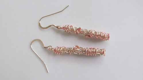 Handmade earrings of knitted silver wire and rose gold copper