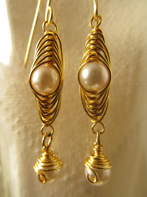 Handmade earrings of gold wrapped faux pearls on gold ear wires