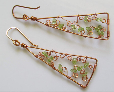 Handmade earrings drops of peridot on deep copper tone