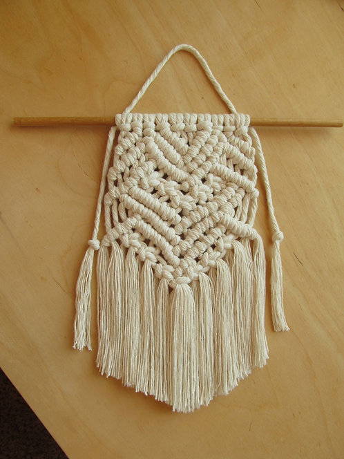 13 Inch White Macrame Wall Artistic Hanging Decor Custom Option