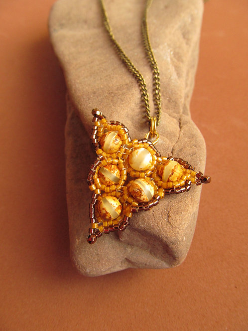 Handmade Necklace & earrings of yellow opal and glass