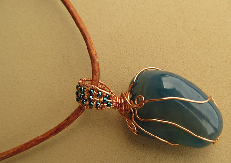 Handmade Necklace of green jasper on chestnut brown leather cord