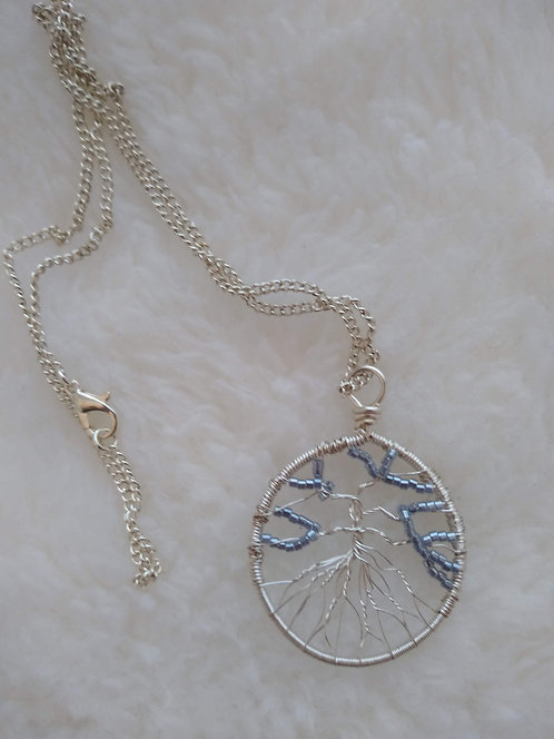 "silver 1.5"" pendant with blue grey beads on 18"" silver chain"