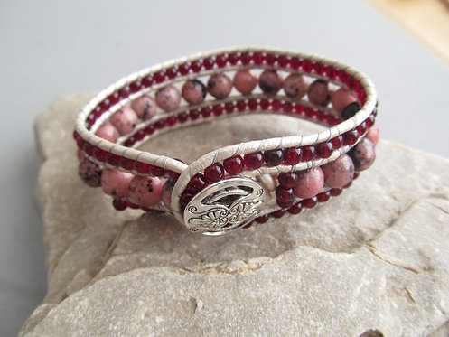 Handmade leather wrapped cuff bracelet natural rhodonite