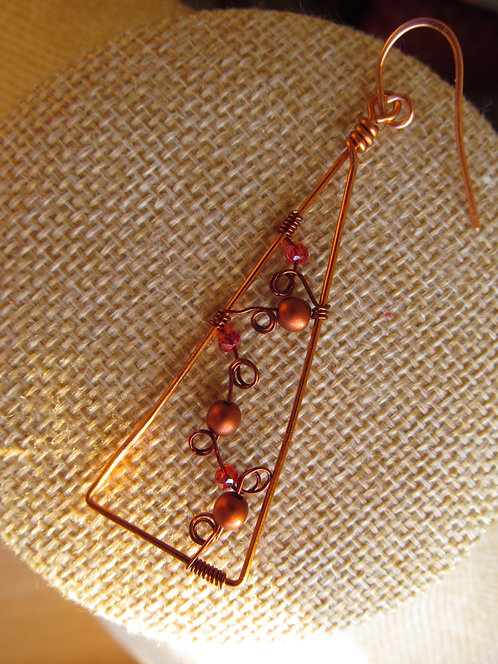 Handmade copper wired peach and coffee glass on triangle earrings