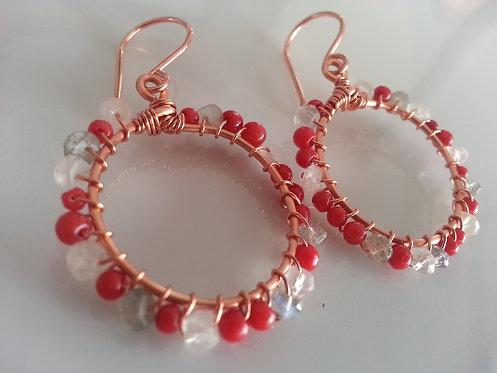 Handmade earrings hoops quartz nuggets & Swarovski pearls