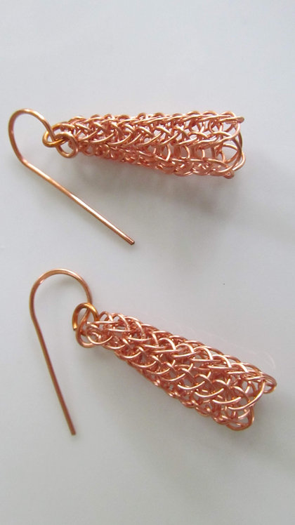 Handmade earrings of knitted lead free copper