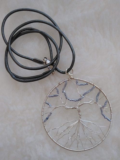 """silver 2.25"""" pendant with blue grey beads on 22"""" leather cord"""