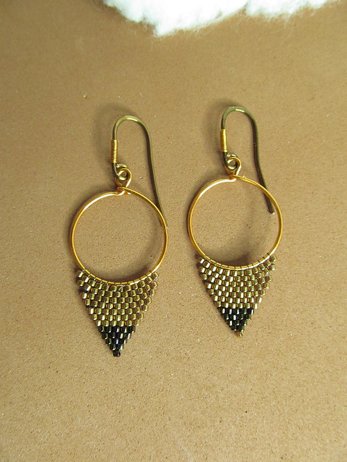 Handmade beaded metal colored glass triangle hoop earrings