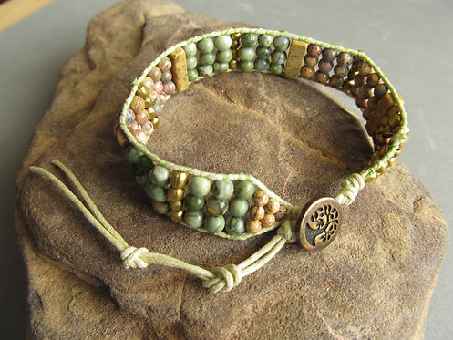 Handmade cotton cord jasper organic adjustable bracelet