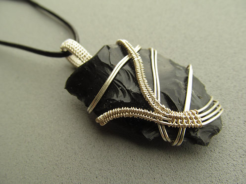 Handmade Necklace of raw black obsidian stone on black leather cord