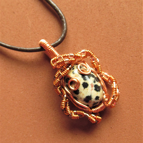 Handmade Necklace of dalmation jasper on black leather cord