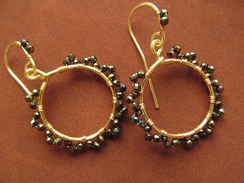 Handmade gemstone spinel tiny gold hoop earrings
